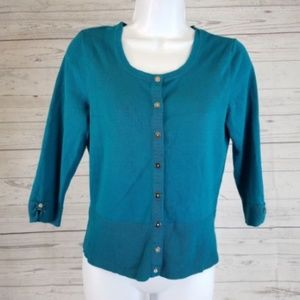 WHBM Cardigan Sz Small Teal Snap Buttons